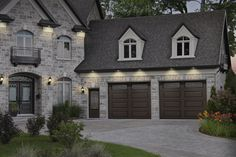 Moka Brown garage door colors on a stone house Brown Garage Door, Black Garage Doors, Modern Garage Doors, Wood Garage Doors, Garage Door Lights, Garage Door Colors, Garage Door Styles, Garage Door Design, Sectional Garage Doors