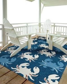 Marina Blue And White Crab Rug