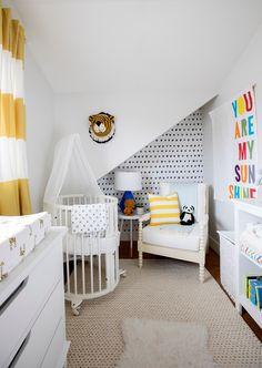 Jillian Harris's son's minimalist nursery featuring the Stokke Sleepi Mini crib