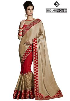 #Latest Arrivals!! #Stunning Sarees!!  #Cream Satin Chiffon Saree designed with Resham Embroidery. As shown Red Raw Silk Blouse fabric is available  INR 2764.00 Only  Shop@ http://goo.gl/0LMZCy