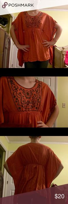 YA Los Angeles butterfly top This top is so unique! It's orange with brown embroidery. It has false sleeves that mimic a butterfly blouse. The fabric is so soft and the item is in great condition! Ya Los Angeles Tops Blouses