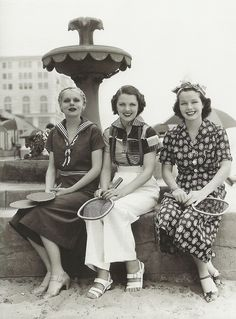 Vintage girls June Travis, Marie Wilson & Carol Hughes 30s sports wear tennis pants skirts tops blouse outfit athletic wear photo print ad ladies