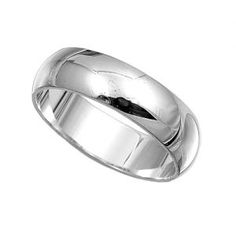 Men's .925 Sterling Silver Domed Wedding Ring Band 6mm. $32.00
