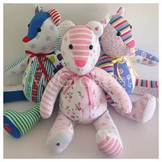 Bears from outgrown baby clothes