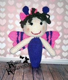 Bailey the Butterfly 'fluttering' to a new home. https://www.etsy.com/shop/KellizKreationz #butterfly #crochet (pattern credit to Knotted Notions)