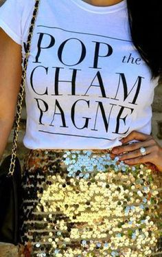 This cute champagne top is perfect for New Years Eve outfit ideas!