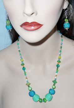 Teal Blue and Green Crystal Necklace and Earring Set