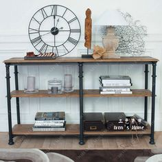 LOFT export French industrial retro European-style garden wrought iron wood side table Console Table three sideboard
