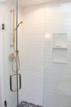 Shower: Tile, Daltile, Artigiano Filed, 3x6, Italian Alps; Grout: Avalanche; Flooring: Tile, 21st Century Tile, Braga, 8x8, Blue; Grout: White