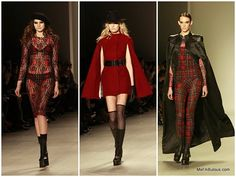 #NYFW: Mark & Estel Fall 2015 shot by Mariana Leung - red plaid on the runway