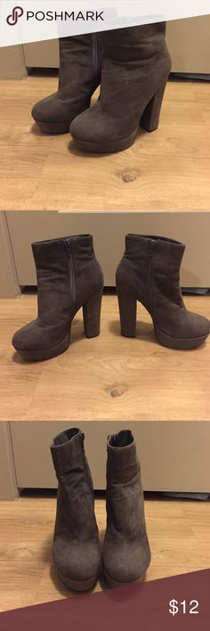 Grey suede ankle booties Grey suede ankle booties with inside zipper and platform heel. Forever 21 Shoes Ankle Boots & Booties