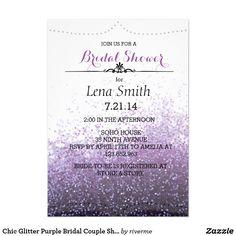 Chic Glitter Purple Bridal Couple Shower Invite
