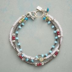 """SWERVE BRACELET -- Pretty takes an unexpected turn in a triple-strand bracelet in which ruby, peridot, labradorite, neon apatite, Thai silver and pink and blue chalcedony cavort. Sterling silver lobster clasp. USA. Exclusive. 7-3/4""""L."""