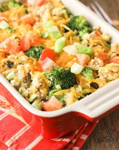 Baked Quinoa Casserole with Chicken and Broccoli