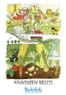 Kasvisten reitti -juliste, kuvitus Heli Pukki
