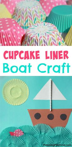 Cupcake Liner Boat Craft. Such a cute ocean themed craft.