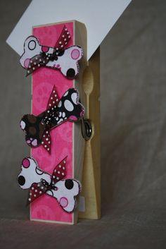 Pink Dog Bone Extra Large Clothespin Photo/Note Holder