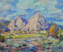 California plein air painting of mountains and nearby farms signed Robert Volz