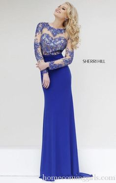 Long Sherri Hill 1960 Sexy 2015 Homecoming Dress Royal
