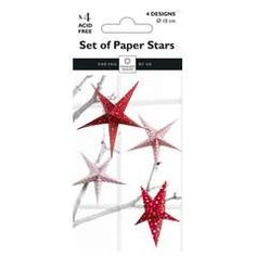 Brettede stjerner Red 4pk - Papir & Stempler for hobbyentusiasten