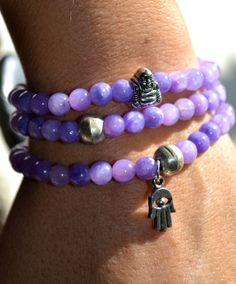 Set of 3 Lavender Beaded Stretch Bracelets by uniquebeadingbyme