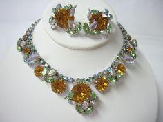 WEISS Runway Golden Headlight Juliana Style Necklace Earring Demi Parure. $ 149.50