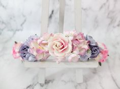 This flower crown was inspired by a photo of a bouquet. We have just grabbed the off white with pink inside roses and think its really unique, it reminds us of peonies so we matched it with gardenia, cherry blossom and roses. >>>>>>>>>>>>>>>>>>>>>>>>>>>>>>>>  MATERIAL: mulberry paper flowers, jute rope, wire.  SIZE: adjustable to fit both kids and adults (tied with flowers).  SHIPPING: from Thailand it takes around 2-4 weeks. See how long it will take to your country here…