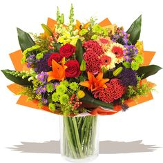 A luxury hand-tied bouquet of lush tropical and choice traditional fresh flowers. Renainssance is a rich and contemporary blend of glorious flower varieties, a high style hand-tied bouquet arranged with flair in the hand by our designer florists. Gift Bouquet, Hand Tied Bouquet, Flower Vases, Flower Arrangements, Gifts Delivered, Flowers Delivered, Food Themes, Fresh Flowers, Wedding Gifts