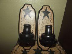 Primitive Crackle Wood Sconces Pair of 2  ~ Black Stars ~  Country Decor #NaivePrimitive