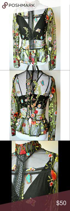 ASOS Premium Top Mesh floral embroidered peplum top. Never worn ASOS Tops Blouses