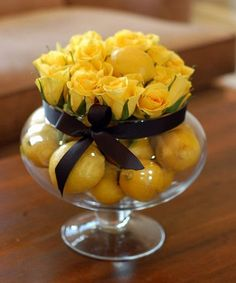 Yellow roses and lemons.for the bathroom using fake fruit and flowers? Fake Flower Centerpieces, Table Centerpieces, Flower Decorations, Wedding Centerpieces, Wedding Decorations, Table Decorations, Centrepieces, Wedding Table, Centerpiece Ideas