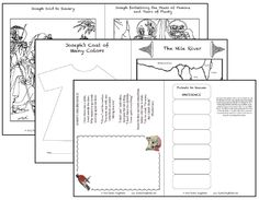 Joseph;Free Bible Printables for Children Unit Study. Two coloring pages, craft, map and geography, art and another mini book called Tickets to Heaven- how to practice obedience!