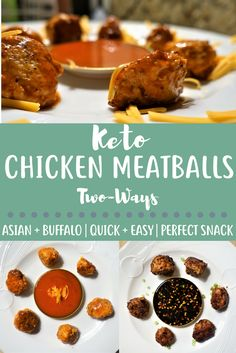 These Keto Chicken Meatballs are two times as delicious - because they are half Asian style and half Buffalo style!  Low carb and easy to make when you're in a hurry or on a budget, these meatballs are a staple in my house!!!