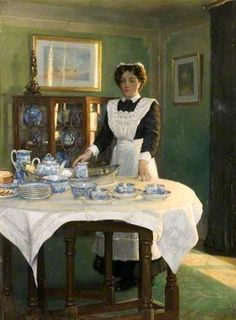 Albert Ranney Chewett (1877-1965), Canadian / 'Teatime' .... depicts woman in maid's uniform setting a table for tea