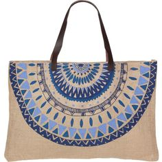 The Beach People Majorelle Jute Bag ($22) ❤ liked on Polyvore featuring bags, handbags, tote bags, jute handbags, pattern tote bag, jute beach tote, pattern tote and print purse