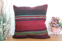 euro sham kilim pillow 24X24 floor cushion pillow turkish #etsy #pillow #handmade