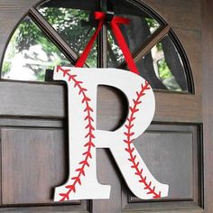 Baseball Monogram Wreath for a Baseball Party Baseball Wreaths, Baseball Crafts, Baseball Mom, Baseball Season, Baseball Tickets, Baseball Tips, Sports Wreaths, Baseball Uniforms, Baseball Stuff