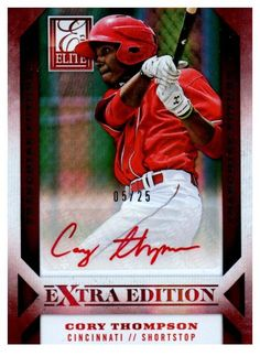 2013 Elite Extra Edition Cory Thompson Red Ink Autograph Card /25 Cincinnati Red