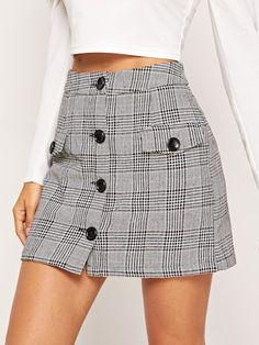 Button Up Flap Pocket Plaid Skirt Stylish party dresses Online,Party Dresses Stylish Dresses, Fashion Dresses, Fashion Vest, Fashion Sandals, Fashion 2017, Fashion Styles, Fashion Online, Fashion Jewelry, Womens Fashion
