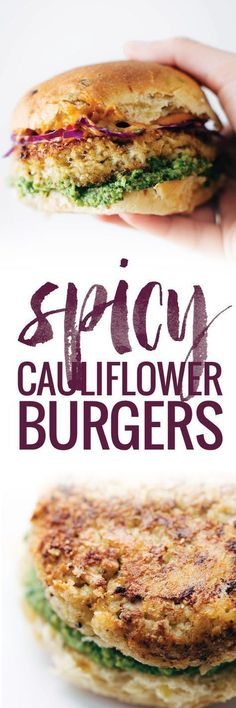 Healthy Recipes - Recipe for Spicy Cauliflower Burgers with avocado sauce, cilantro lime slaw, and chipotle mayo! Meatless, filling, and delicious! Spicy Recipes, Veggie Recipes, Vegetarian Recipes, Cooking Recipes, Healthy Recipes, Easy Recipes, Vegan Meals, Dinner Recipes, Vegetarian Meals