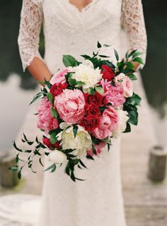 Blush pink and red lush bouquet