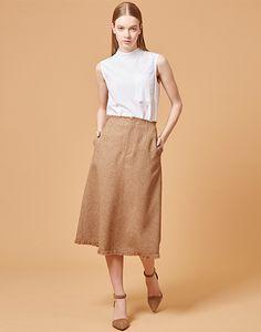 LE CIEL BLEU タイプライターハイネックシャツ/ミドルAラインスカート