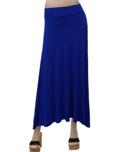 Amazon.com: Doublju A-line Stretch Maxi Skirt: Clothing