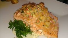 Stuffed salmon with lump crab and shrimp. I made this today and it was great.  Ingredients: Salmon filets Lump crab meat Small shrimp Parsley Butter Garlic Seasonings of your choice  Directions: In skillet saute shrimp, garlic, parsley in butter for 10min, then add crab, shredded cheese and italian bread crumbs. Saute for another 5min. Slice salmon down the center to make space for stuffing. Stuff salmon with stuffing mixture and bake in oven for 18min at 400.