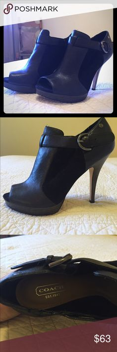 Coach Peep-toe Booties Gorgeous black suede and leather Coach Peep toe booties. Size 8, fit true to size. Gently used, like new condition. Bottom of shoes shows minimal wear. Top and sides of shoes are flawless. Perfect to wear with dark skinny jeans for a night out! Let me know if you have questions! Coach Shoes Ankle Boots & Booties