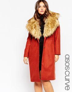 ASOS CURVE Midi Coat with Faux Fur Collar