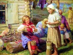 Outside The Cottage  by  Fedot Vasilievich Sychkov (1870 – 1958, Russian)