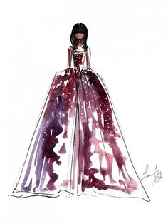 Freehand Illustration of Naomi Campbell in Zac Posen at New York Fashion Week
