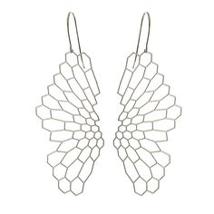 These earrings are etched from stainless steel and hung on surgical steel findings. Though they appear quite fragile, the steel meshwork is rigid and durable. MATERIAL Stainless steel, 24K gold-plated
