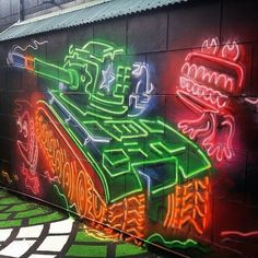 """NeonWarfare"" Street art in Perth, Australia, by artist Straker. Photo by perthsa."